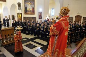 В День Лесосибирского кадетского корпуса его воспитанники приняли участие в Литургии